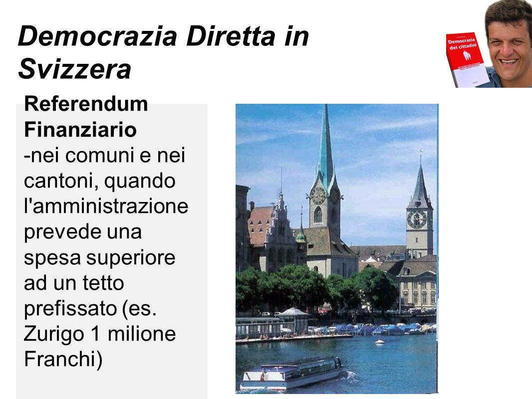 Democrazia Diretta in Svizzera Referendum Bilancio -in alcuni comuni e cantoni (es Zurigo) Referendum iniziato da 1 persona (es Zurigo)