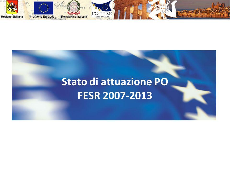 Repubblica italianaUnione Europea Il PO FESR 2007/2013 Stato di attuazione PO FESR 2007-2013