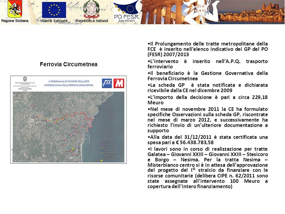 Repubblica italianaUnione Europea Ferrovia Circumetnea Il Prolungamento delle tratte metropolitane della FCE è inserito nellelenco indicativo dei GP d
