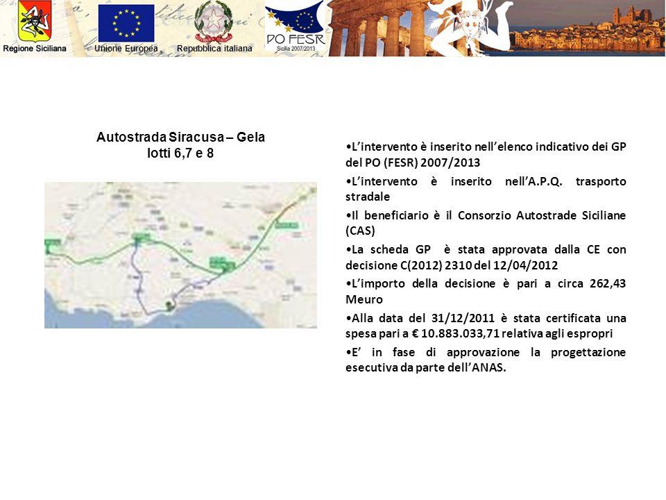 Repubblica italianaUnione Europea Autostrada Siracusa – Gela lotti 6,7 e 8 Lintervento è inserito nellelenco indicativo dei GP del PO (FESR) 2007/2013