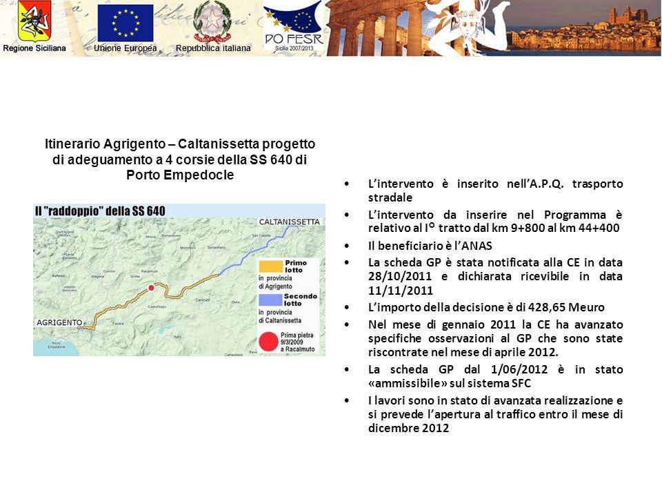 Repubblica italianaUnione Europea Itinerario Agrigento – Caltanissetta progetto di adeguamento a 4 corsie della SS 640 di Porto Empedocle Lintervento