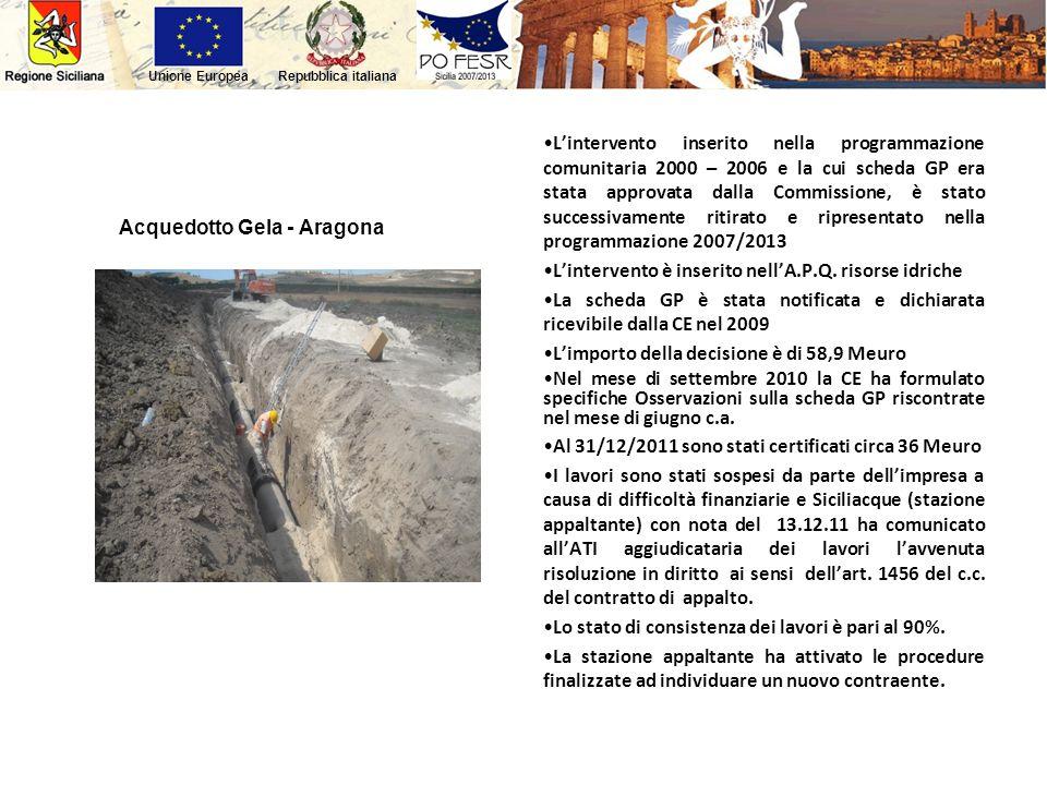 Repubblica italianaUnione Europea Acquedotto Gela - Aragona Lintervento inserito nella programmazione comunitaria 2000 – 2006 e la cui scheda GP era s