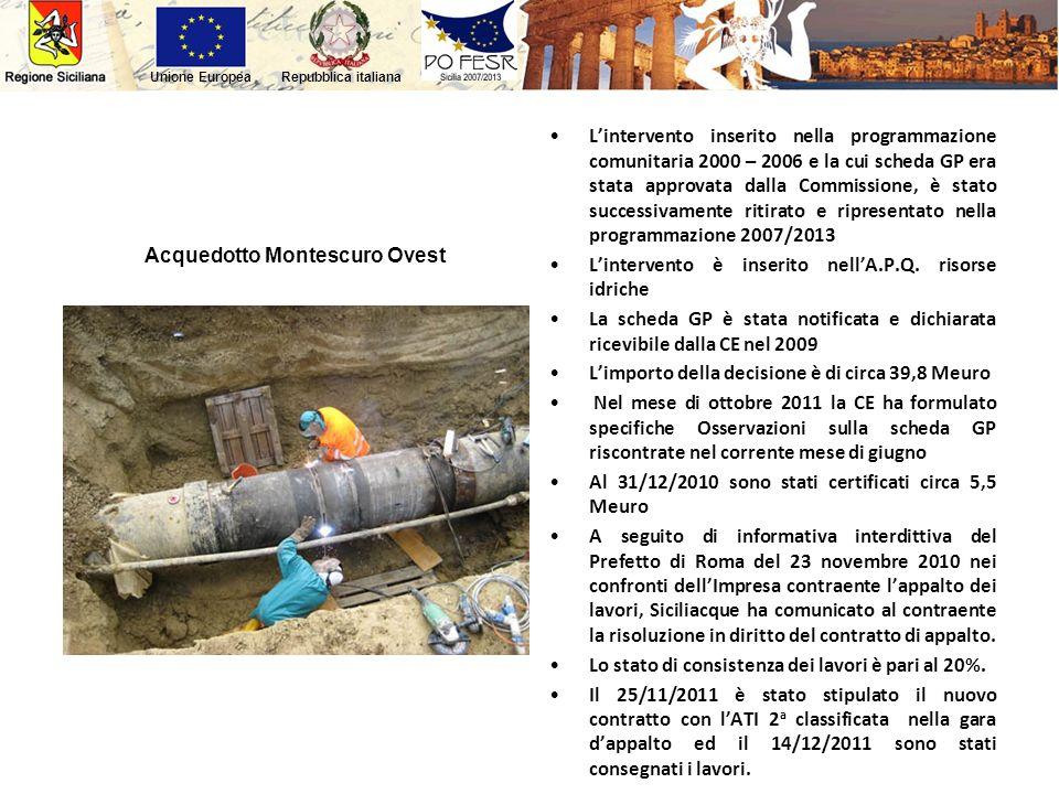 Repubblica italianaUnione Europea Acquedotto Montescuro Ovest Lintervento inserito nella programmazione comunitaria 2000 – 2006 e la cui scheda GP era