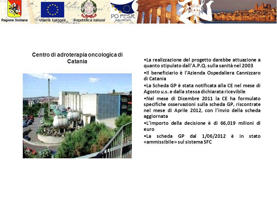 Repubblica italianaUnione Europea Centro di adroterapia oncologica di Catania La realizzazione del progetto darebbe attuazione a quanto stipulato dall