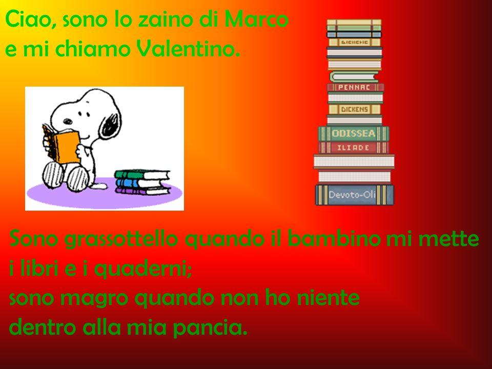 Ciao, sono lo zaino di Marco e mi chiamo Valentino. Sono grassottello quando il bambino mi mette i libri e i quaderni; sono magro quando non ho niente