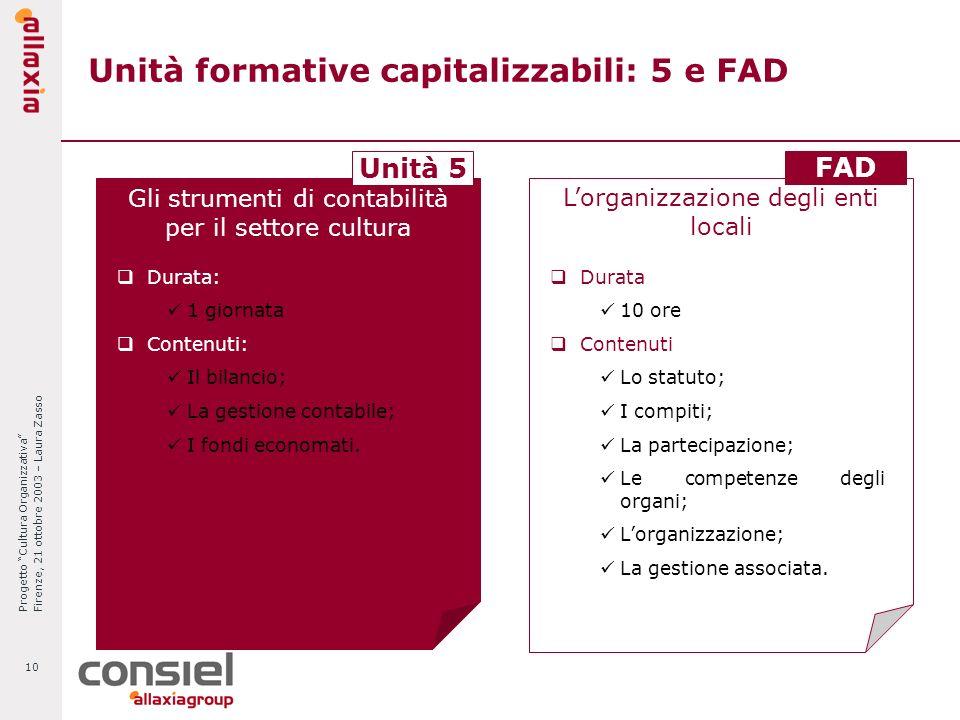 Progetto Cultura Organizzativa Firenze, 21 ottobre 2003 – Laura Zasso 10 Unità formative capitalizzabili: 5 e FAD Gli strumenti di contabilità per il