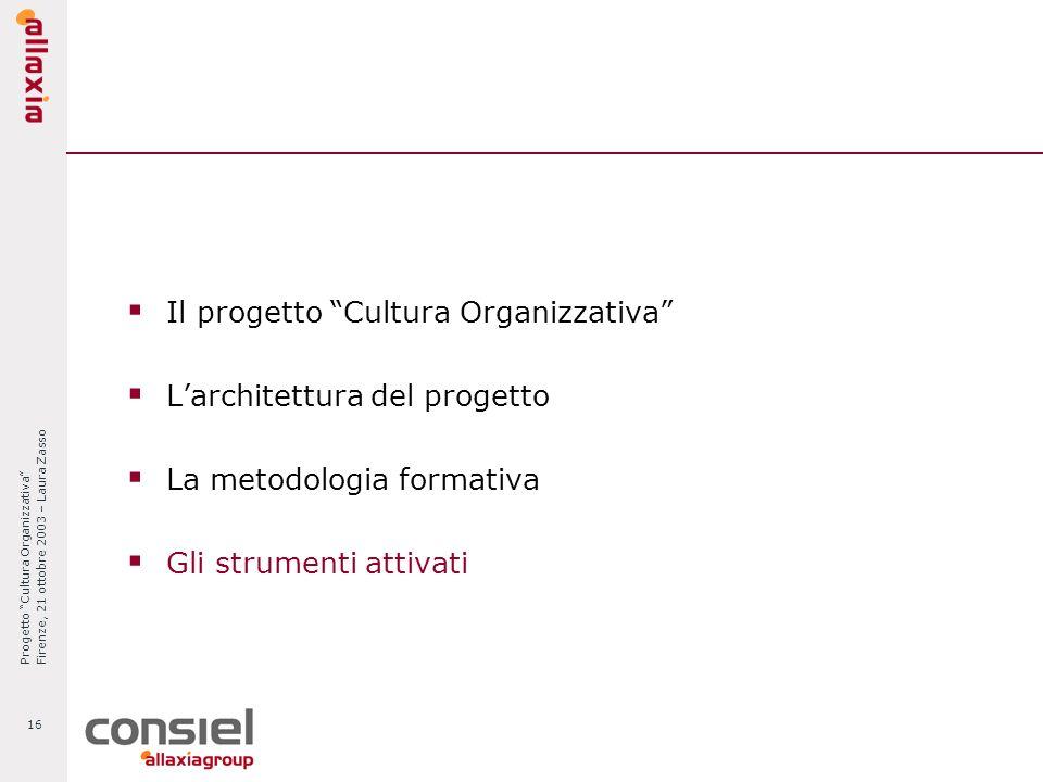 Progetto Cultura Organizzativa Firenze, 21 ottobre 2003 – Laura Zasso 16 Il progetto Cultura Organizzativa Larchitettura del progetto La metodologia f