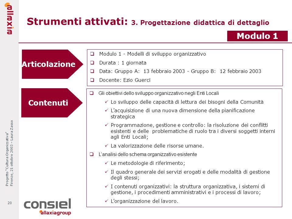 Progetto Cultura Organizzativa Firenze, 21 ottobre 2003 – Laura Zasso 20 Strumenti attivati: 3. Progettazione didattica di dettaglio Articolazione Mod