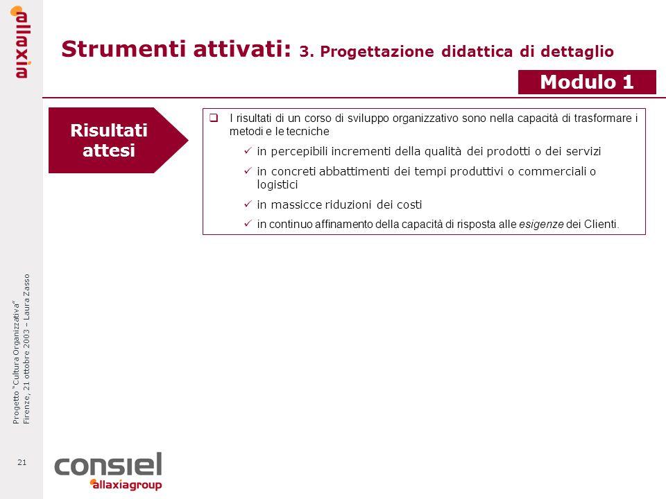 Progetto Cultura Organizzativa Firenze, 21 ottobre 2003 – Laura Zasso 21 Strumenti attivati: 3. Progettazione didattica di dettaglio Risultati attesi