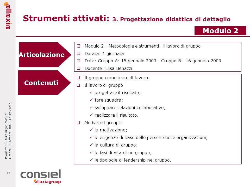 Progetto Cultura Organizzativa Firenze, 21 ottobre 2003 – Laura Zasso 22 Strumenti attivati: 3. Progettazione didattica di dettaglio Articolazione Mod