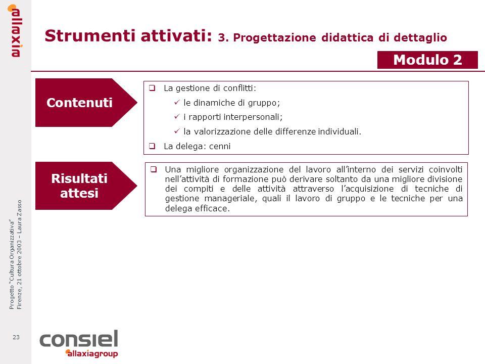 Progetto Cultura Organizzativa Firenze, 21 ottobre 2003 – Laura Zasso 23 Strumenti attivati: 3. Progettazione didattica di dettaglio Modulo 2 Contenut