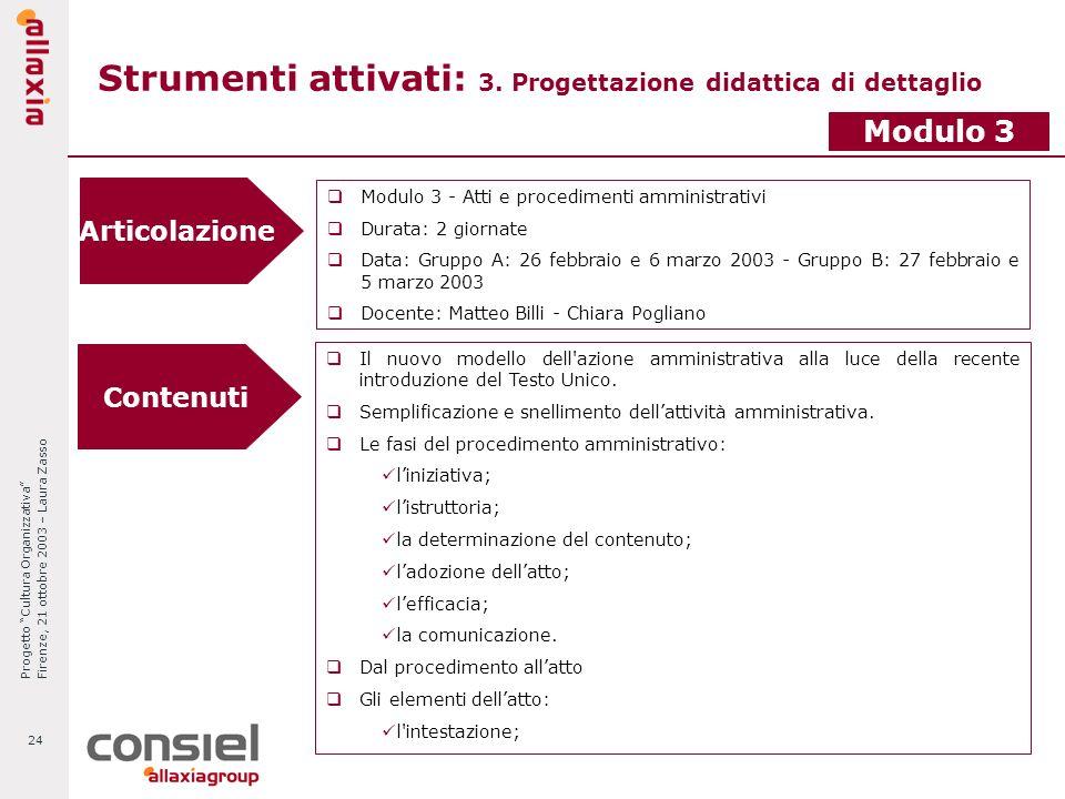Progetto Cultura Organizzativa Firenze, 21 ottobre 2003 – Laura Zasso 24 Strumenti attivati: 3. Progettazione didattica di dettaglio Articolazione Mod