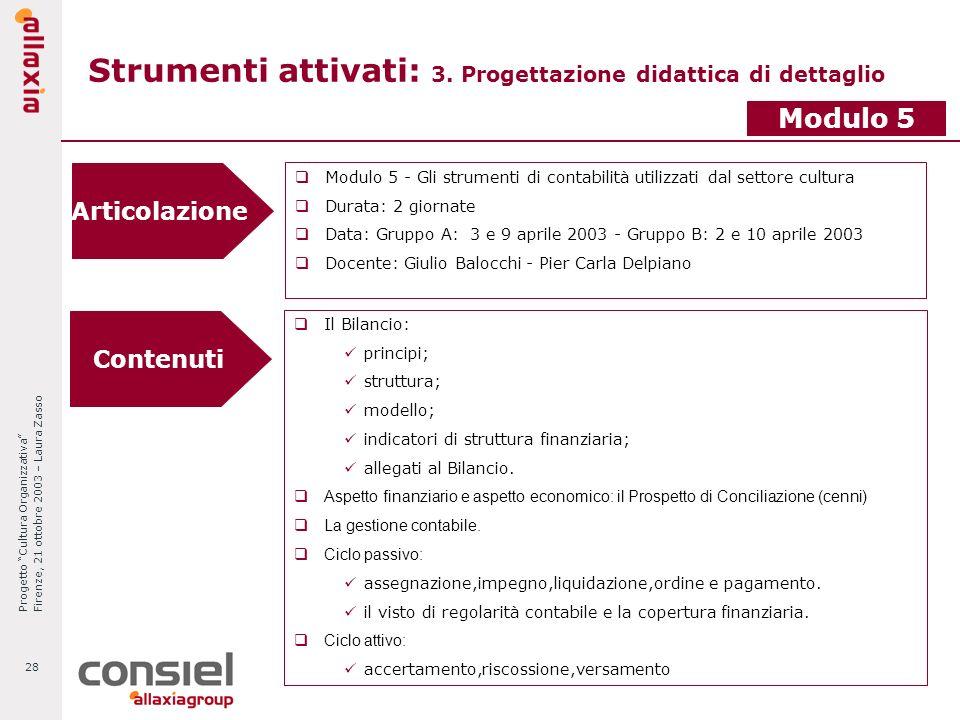 Progetto Cultura Organizzativa Firenze, 21 ottobre 2003 – Laura Zasso 28 Strumenti attivati: 3. Progettazione didattica di dettaglio Articolazione Mod