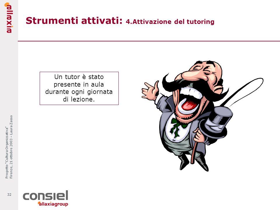 Progetto Cultura Organizzativa Firenze, 21 ottobre 2003 – Laura Zasso 32 Strumenti attivati: 4.Attivazione del tutoring Un tutor è stato presente in a