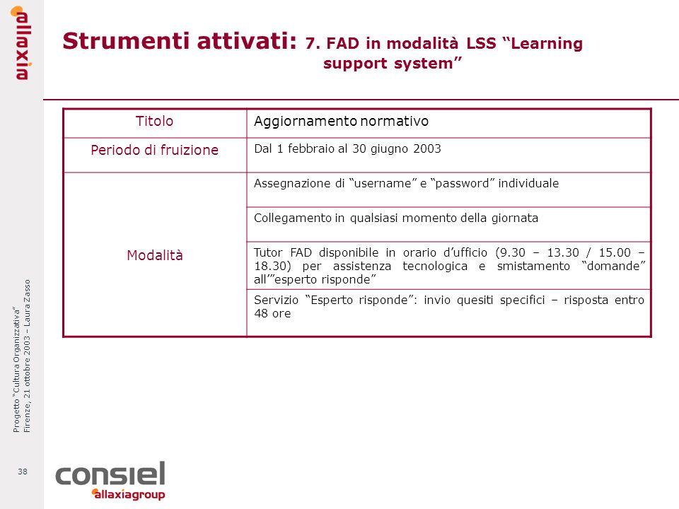 Progetto Cultura Organizzativa Firenze, 21 ottobre 2003 – Laura Zasso 38 Strumenti attivati: 7. FAD in modalità LSS Learning support system TitoloAggi
