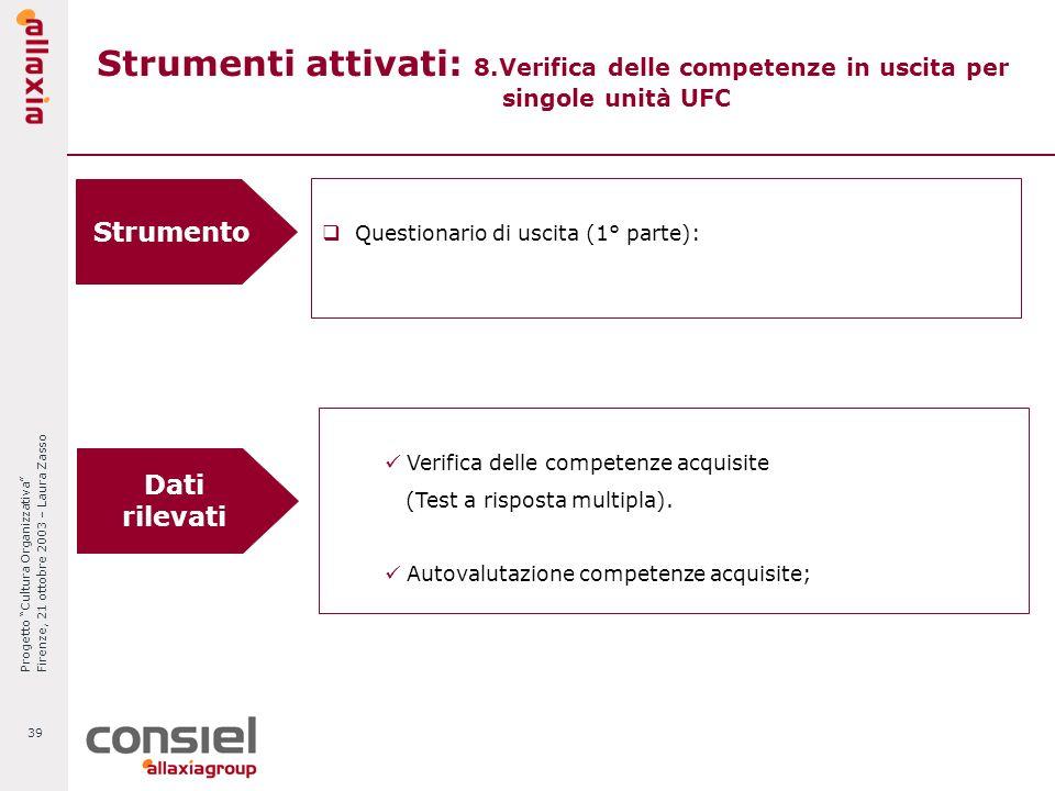 Progetto Cultura Organizzativa Firenze, 21 ottobre 2003 – Laura Zasso 39 Strumenti attivati: 8.Verifica delle competenze in uscita per singole unità U