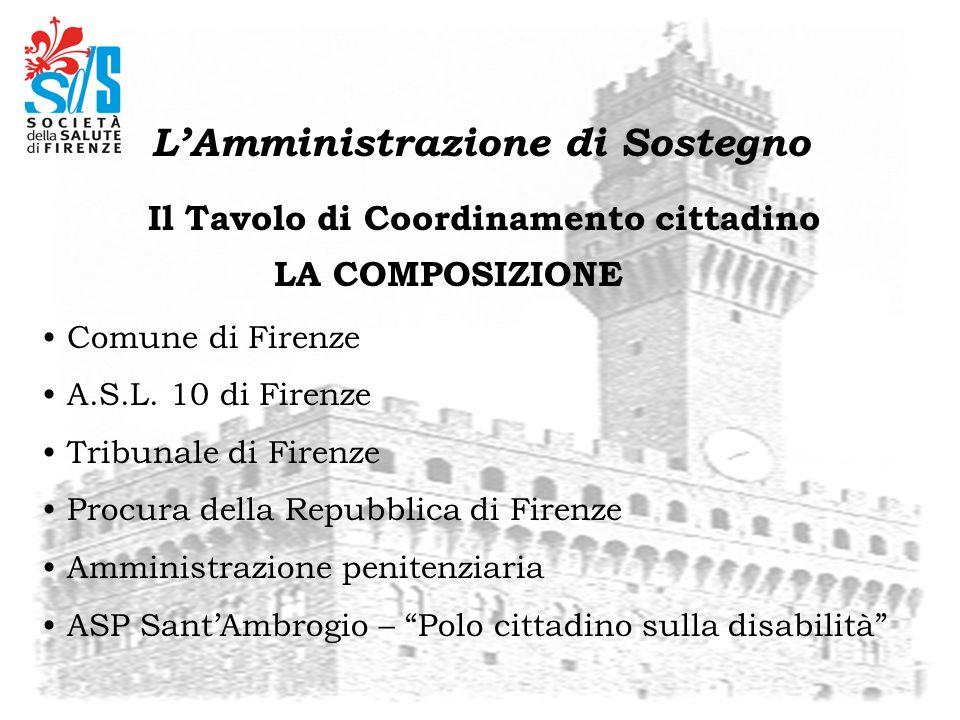 Il Tavolo di Coordinamento cittadino Comune di Firenze A.S.L. 10 di Firenze Tribunale di Firenze Procura della Repubblica di Firenze Amministrazione p