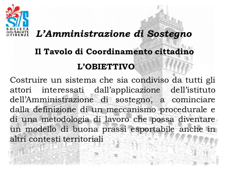 Il Tavolo di Coordinamento cittadino Costruire un sistema che sia condiviso da tutti gli attori interessati dallapplicazione dellistituto dellAmminist