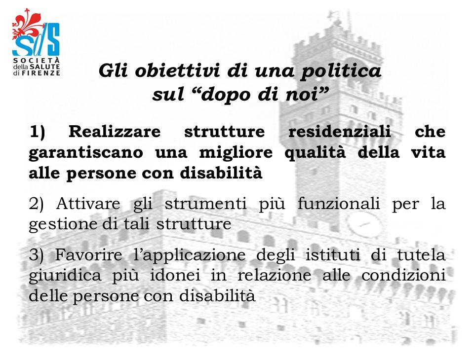 1) Realizzare strutture residenziali che garantiscano una migliore qualità della vita alle persone con disabilità 2) Attivare gli strumenti più funzio