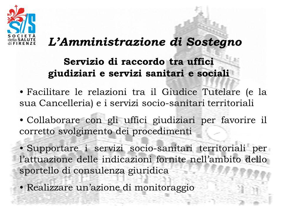 Servizio di raccordo tra uffici giudiziari e servizi sanitari e sociali Facilitare le relazioni tra il Giudice Tutelare (e la sua Cancelleria) e i ser