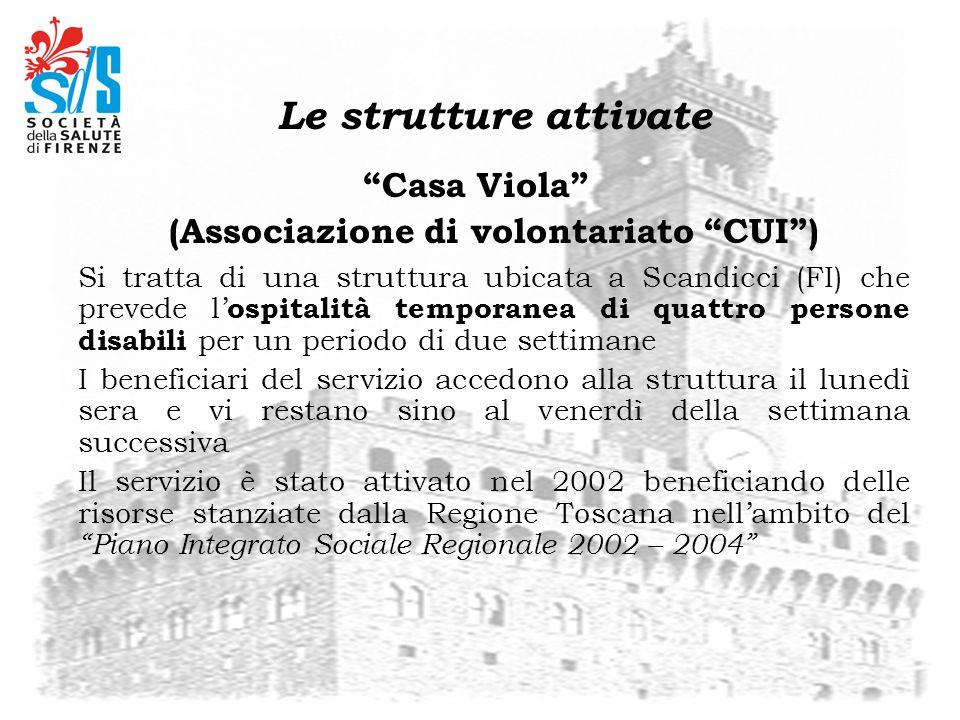Le strutture attivate Casa Viola (Associazione di volontariato CUI) Si tratta di una struttura ubicata a Scandicci (FI) che prevede l ospitalità tempo