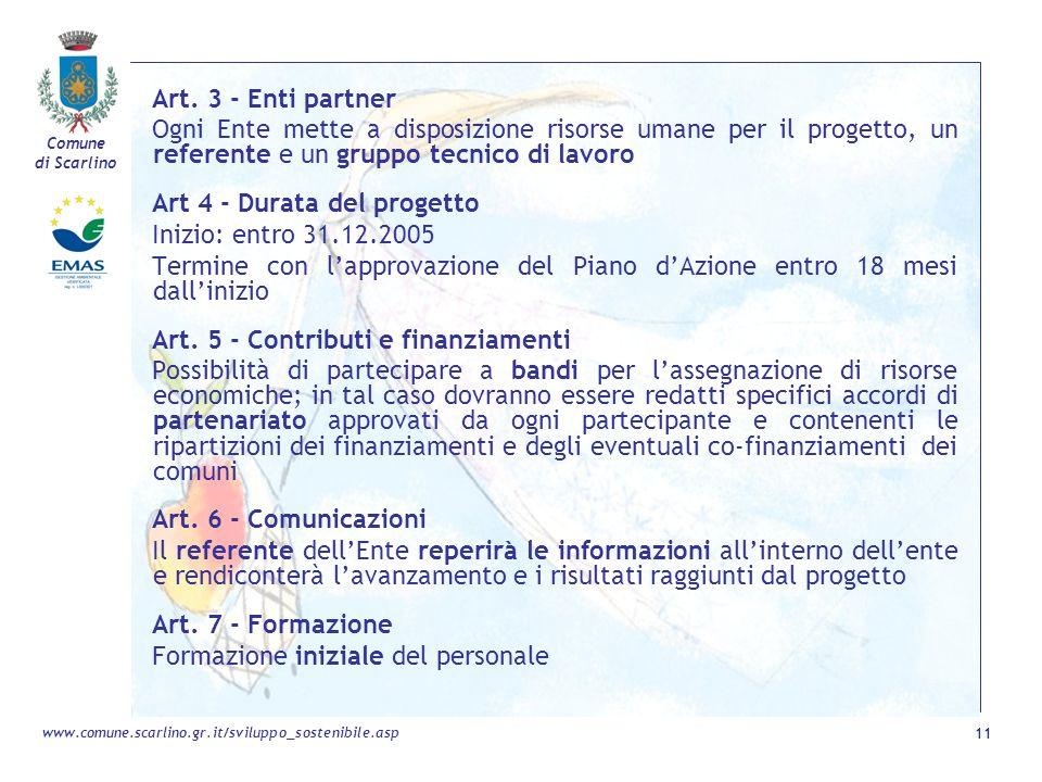 Comune di Scarlino 11 www.comune.scarlino.gr.it/sviluppo_sostenibile.asp Art. 3 - Enti partner Ogni Ente mette a disposizione risorse umane per il pro