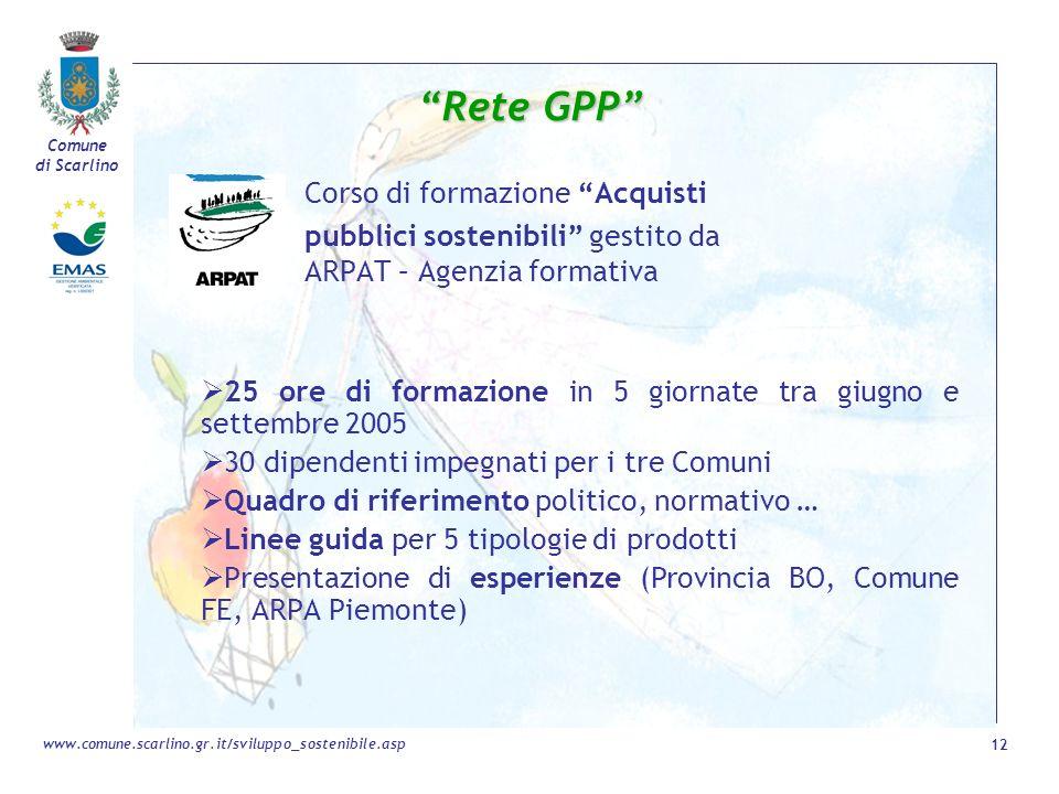 Comune di Scarlino 12 www.comune.scarlino.gr.it/sviluppo_sostenibile.asp Rete GPP Corso di formazione Acquisti pubblici sostenibili gestito da ARPAT –