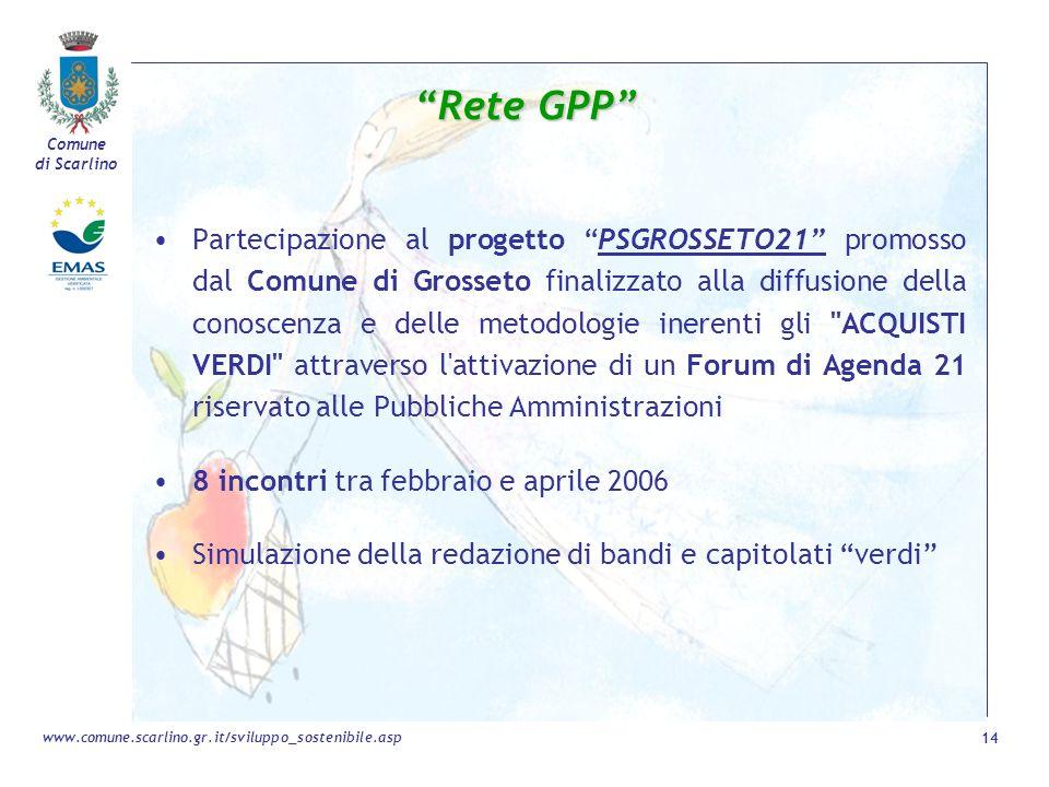 Comune di Scarlino 14 www.comune.scarlino.gr.it/sviluppo_sostenibile.asp Partecipazione al progetto PSGROSSETO21 promosso dal Comune di Grosseto final
