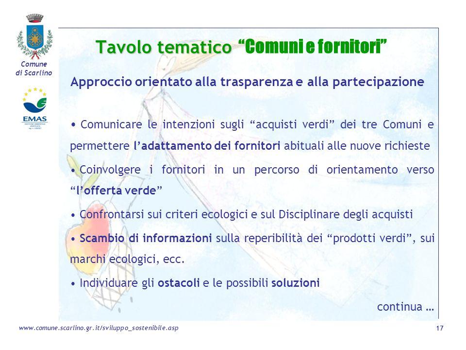 Comune di Scarlino 17 www.comune.scarlino.gr.it/sviluppo_sostenibile.asp Tavolo tematico Tavolo tematico Comuni e fornitori Approccio orientato alla t