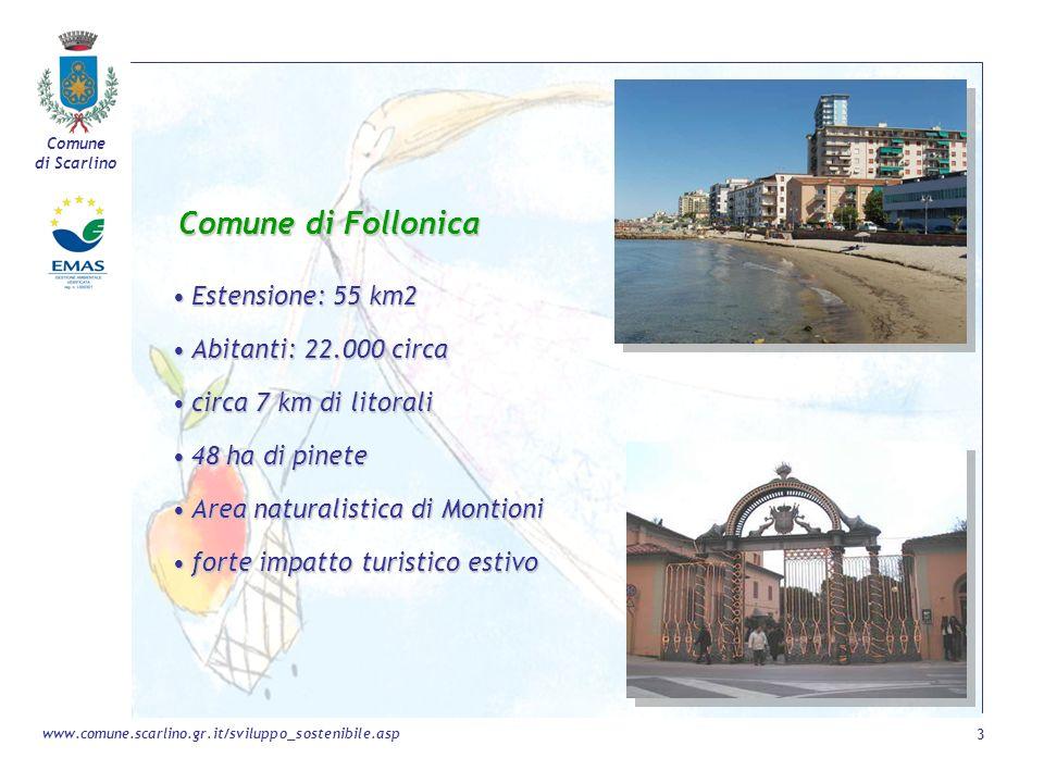 Comune di Scarlino 3 www.comune.scarlino.gr.it/sviluppo_sostenibile.asp Comune di Follonica Estensione: 55 km2Estensione: 55 km2 Abitanti: 22.000 circ