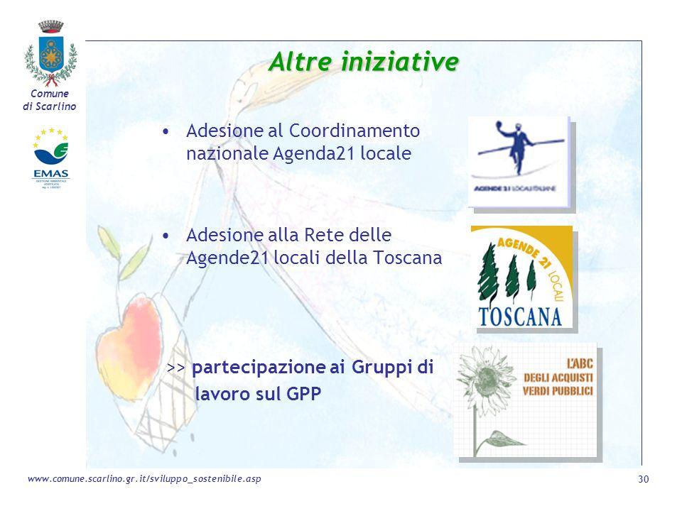 Comune di Scarlino 30 www.comune.scarlino.gr.it/sviluppo_sostenibile.asp Altre iniziative Adesione al Coordinamento nazionale Agenda21 locale Adesione