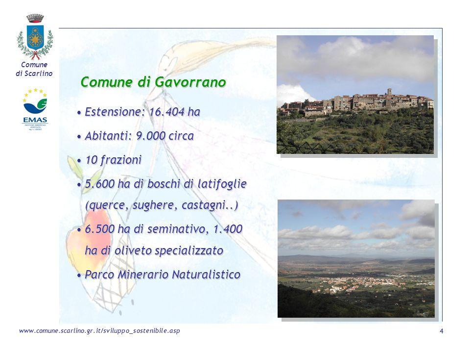 Comune di Scarlino 4 www.comune.scarlino.gr.it/sviluppo_sostenibile.asp Comune di Gavorrano Estensione: 16.404 haEstensione: 16.404 ha Abitanti: 9.000