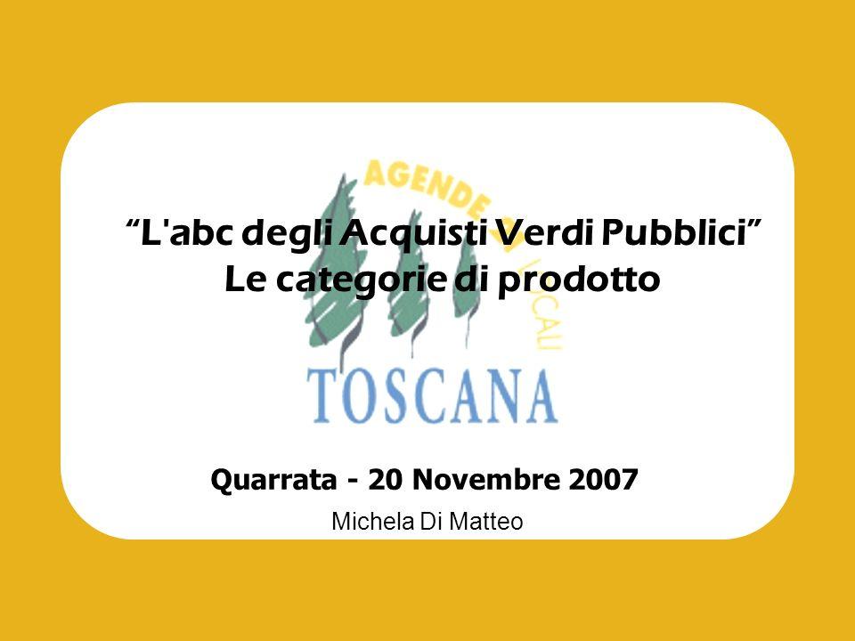 L'abc degli Acquisti Verdi Pubblici Le categorie di prodotto Michela Di Matteo Quarrata - 20 Novembre 2007