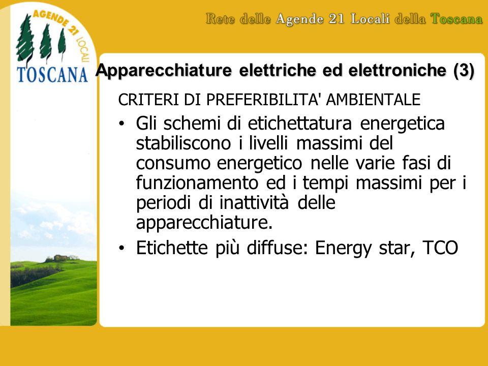Apparecchiature elettriche ed elettroniche (3) CRITERI DI PREFERIBILITA AMBIENTALE Gli schemi di etichettatura energetica stabiliscono i livelli massimi del consumo energetico nelle varie fasi di funzionamento ed i tempi massimi per i periodi di inattività delle apparecchiature.