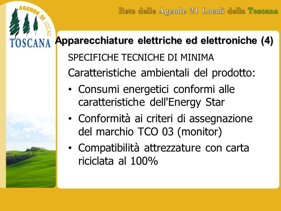 Apparecchiature elettriche ed elettroniche (4) SPECIFICHE TECNICHE DI MINIMA Caratteristiche ambientali del prodotto: Consumi energetici conformi alle caratteristiche dell Energy Star Conformità ai criteri di assegnazione del marchio TCO 03 (monitor) Compatibilità attrezzature con carta riciclata al 100%