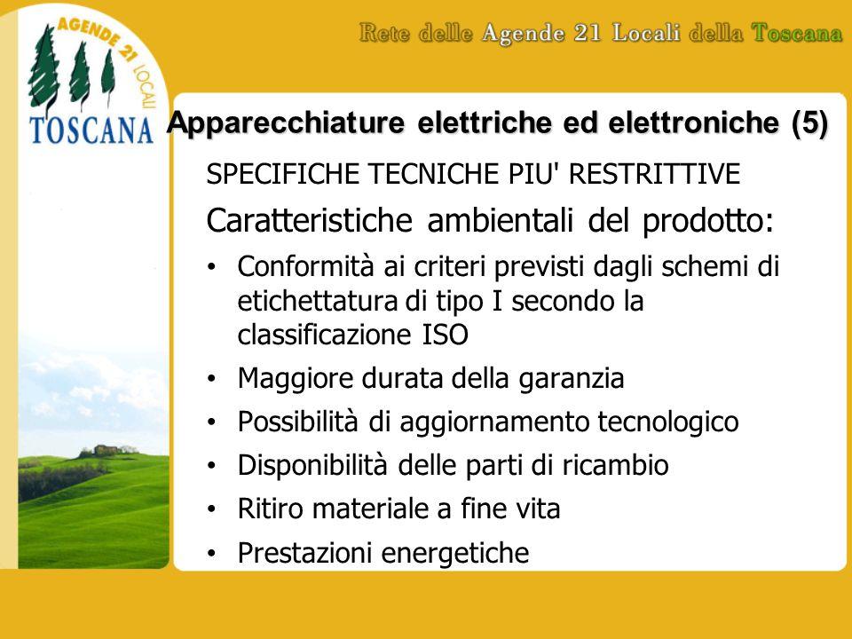 Apparecchiature elettriche ed elettroniche (5) SPECIFICHE TECNICHE PIU' RESTRITTIVE Caratteristiche ambientali del prodotto: Conformità ai criteri pre