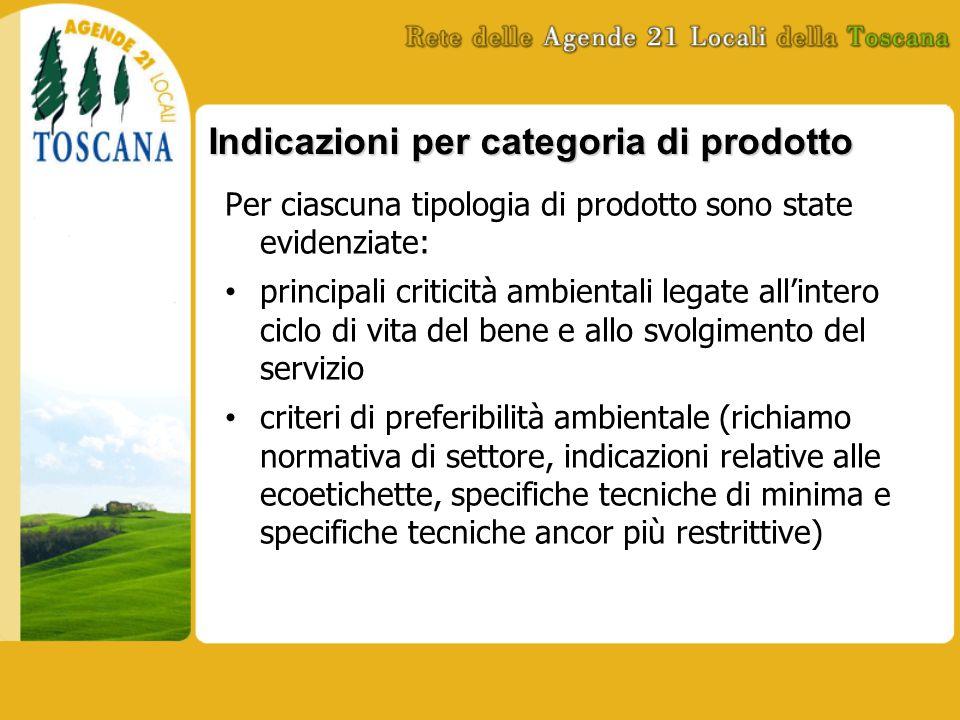 Indicazioni per categoria di prodotto Per ciascuna tipologia di prodotto sono state evidenziate: principali criticità ambientali legate allintero cicl