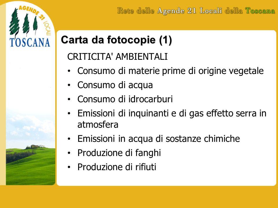 Carta da fotocopie (1) CRITICITA' AMBIENTALI Consumo di materie prime di origine vegetale Consumo di acqua Consumo di idrocarburi Emissioni di inquina
