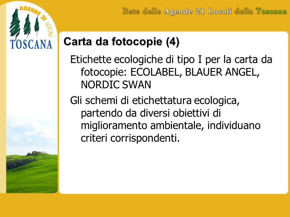 Carta da fotocopie (4) Etichette ecologiche di tipo I per la carta da fotocopie: ECOLABEL, BLAUER ANGEL, NORDIC SWAN Gli schemi di etichettatura ecologica, partendo da diversi obiettivi di miglioramento ambientale, individuano criteri corrispondenti.