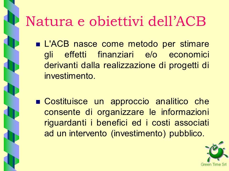 Natura e obiettivi dellACB L'ACB nasce come metodo per stimare gli effetti finanziari e/o economici derivanti dalla realizzazione di progetti di inves