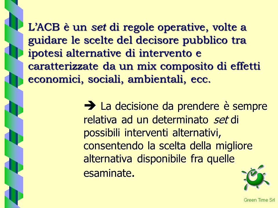 LACB è un set di regole operative, volte a guidare le scelte del decisore pubblico tra ipotesi alternative di intervento e caratterizzate da un mix co
