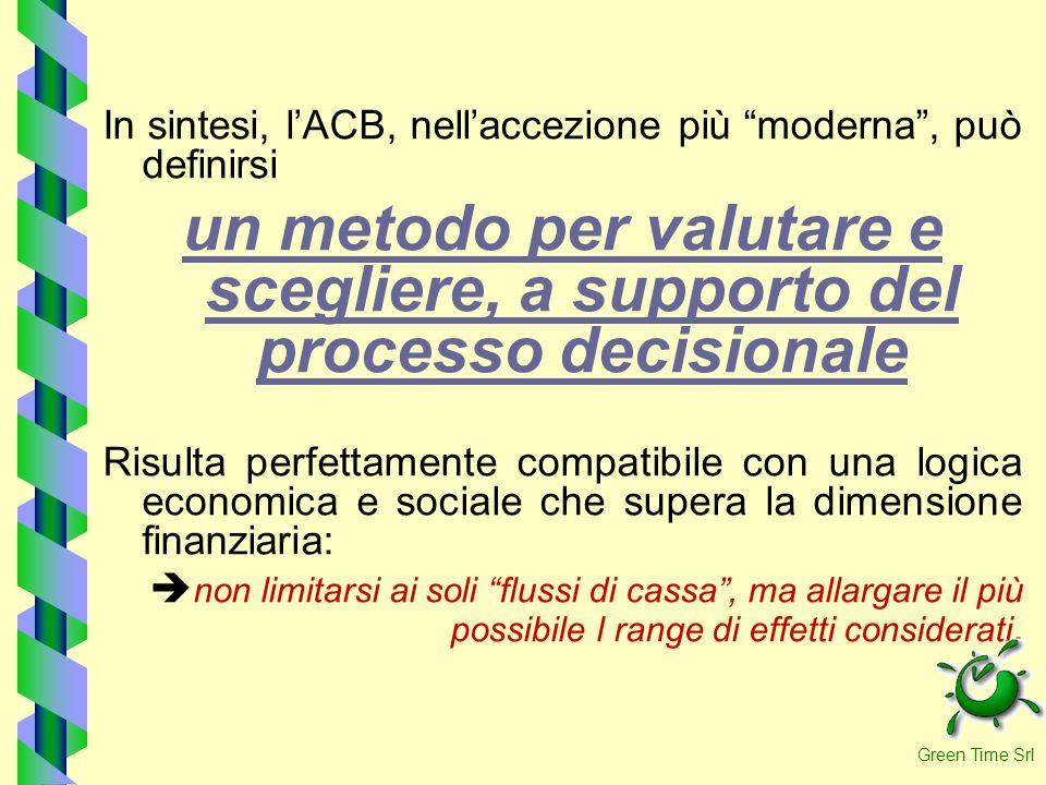 In sintesi, lACB, nellaccezione più moderna, può definirsi un metodo per valutare e scegliere, a supporto del processo decisionale Risulta perfettamen