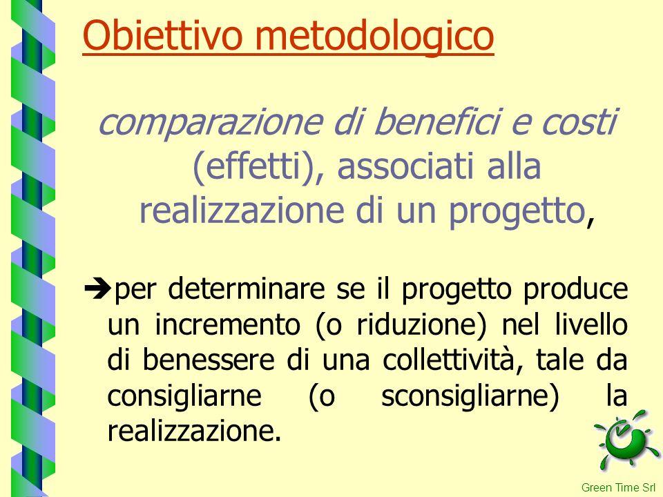 Obiettivo metodologico comparazione di benefici e costi (effetti), associati alla realizzazione di un progetto, per determinare se il progetto produce