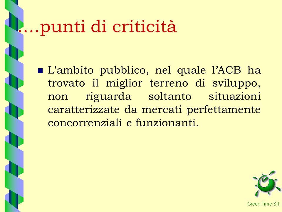 ….punti di criticità L'ambito pubblico, nel quale lACB ha trovato il miglior terreno di sviluppo, non riguarda soltanto situazioni caratterizzate da m