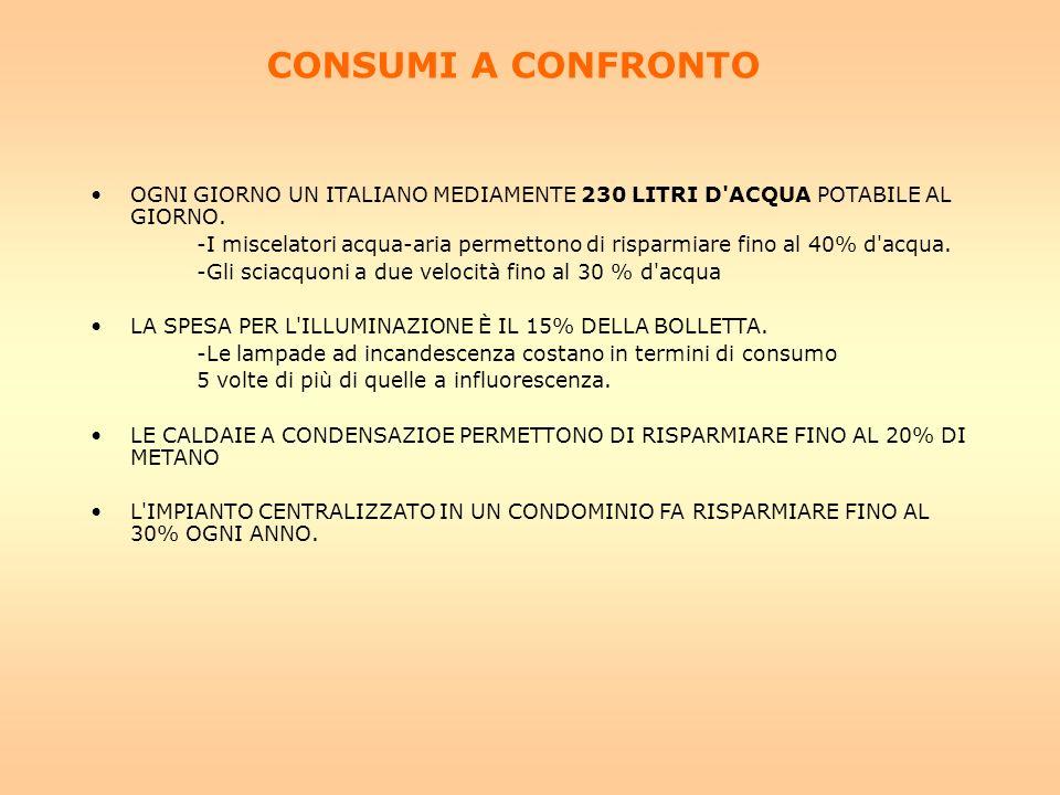 CONSUMI A CONFRONTO OGNI GIORNO UN ITALIANO MEDIAMENTE 230 LITRI D ACQUA POTABILE AL GIORNO.