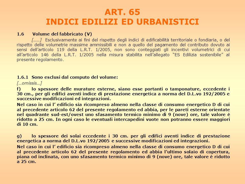 ART. 65 INDICI EDILIZI ED URBANISTICI 1.6 Volume del fabbricato (V) […..] Esclusivamente ai fini del rispetto degli indici di edificabilità territoria