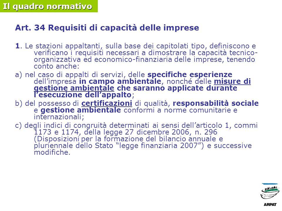 Art. 34 Requisiti di capacità delle imprese 1.