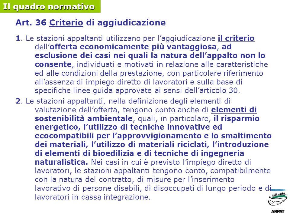 Art. 36 Criterio di aggiudicazione 1.