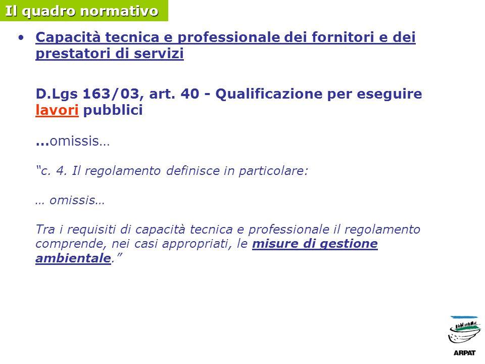 Capacità tecnica e professionale dei fornitori e dei prestatori di servizi D.Lgs 163/03, art.