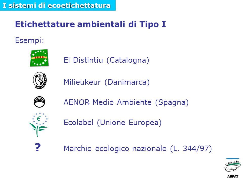 Etichettature ambientali di Tipo I Esempi: El Distintiu (Catalogna) Milieukeur (Danimarca) AENOR Medio Ambiente (Spagna) Ecolabel (Unione Europea) .
